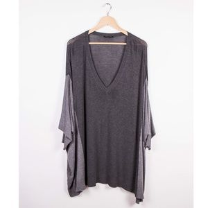 Eileen Fisher gray v neck draped knit tunic top